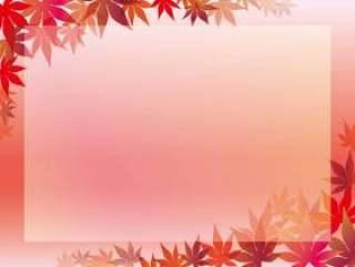 粉红色背景上的枫叶框架。