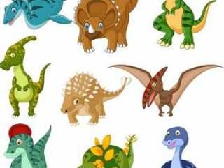 Cartoon dinosaurs collection set