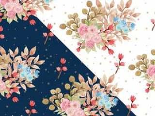 水彩花卉图案与美丽的蓝色和粉红色的玫瑰