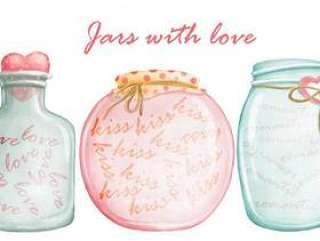 水彩套可爱的罐子与浪漫的爱情