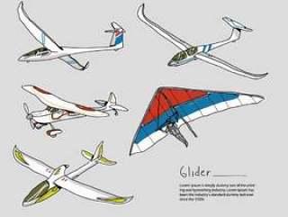 滑翔机手绘矢量图