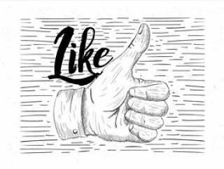 手绘矢量图竖起大拇指