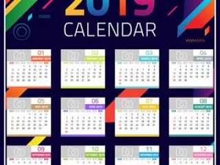 2019 Calendar design template