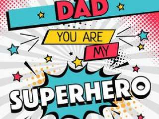 超级英雄爸爸排版矢量