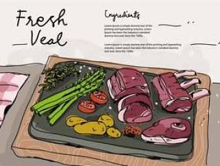 新鲜的小牛肉成份手拉的传染媒介例证