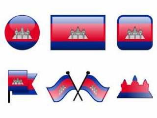 有光泽的柬埔寨国旗矢量