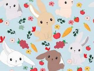 可爱的卡通兔子兔子无缝模式