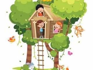 使用在树上小屋的孩子的例证