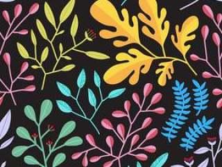 多彩的树叶无缝模式