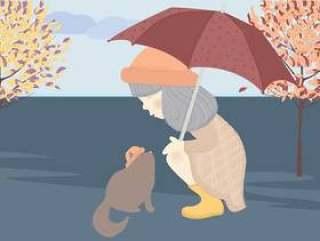 矢量可爱的女孩和猫的插图