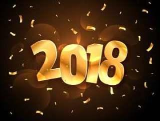 金色闪亮2018年新年聚会庆祝与下降的五彩纸屑