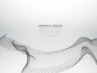 矢量粒子流动波样式的抽象设计