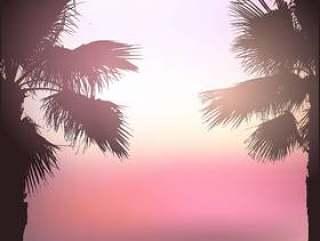 复古风格的棕榈树背景