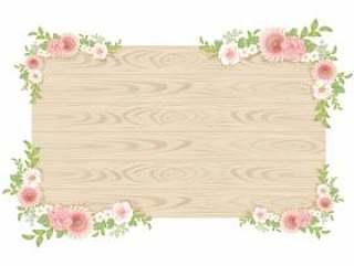 植物框架设置粉红色的花棕色板
