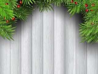 圣诞树枝上木制的背景