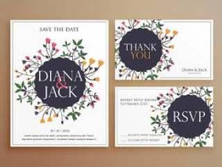 套与花装饰的婚礼邀请卡套件
