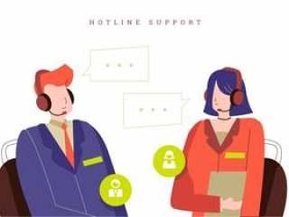 客户服务代理在呼叫中心办公室矢量图