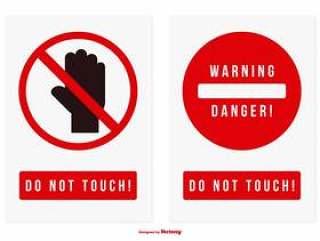 不要触摸矢量标志集合