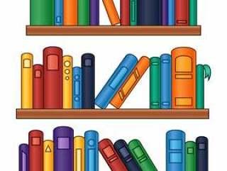 书架的传染媒介例证有五颜六色的书的