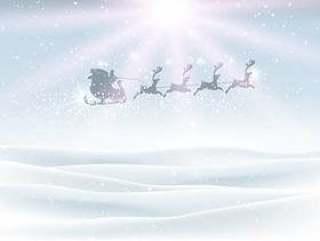 与圣诞老人在天空中飞行的冬季景观