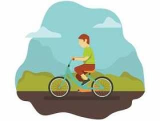 在公园骑自行车