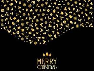 圣诞节背景与节日图标在金属金色的颜色
