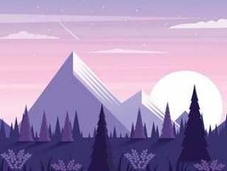 矢量美丽的风景插画