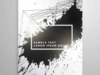 抽象的黑色墨水飞溅海报传单模板
