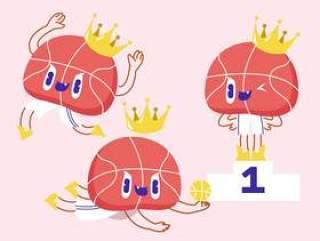滑稽的篮球吉祥物字符传染媒介例证