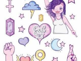 一套女孩权力卡通图标