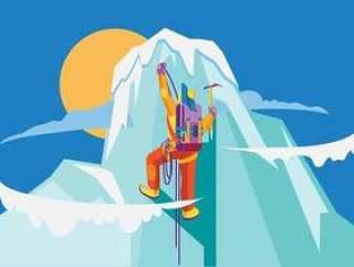 登山者庆祝峰会的征服