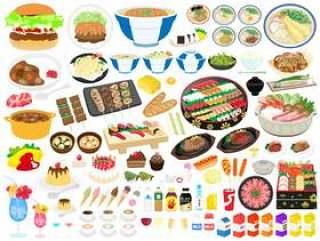 插图集的食物和饮料