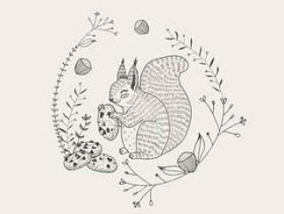 与手拉曲奇饼的动画片的逗人喜爱的灰鼠动物