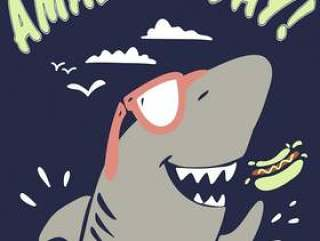 Hand drawn shark vector for t shirt printing