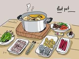在桌上的火锅成份手拉的传染媒介例证