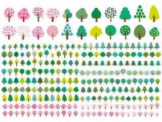 春天夏天树简单图标素材叶樱桃树初夏