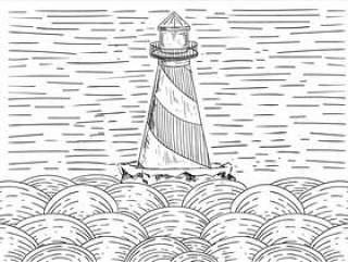 手绘矢量灯塔插画