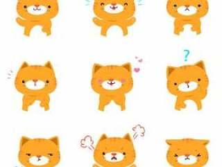 Set of cat face expression cartoon vector.