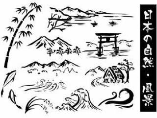 日本风景水墨画
