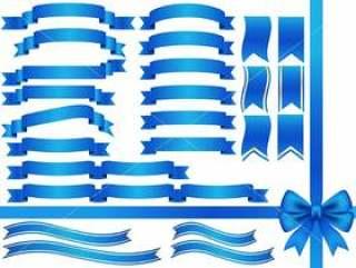 一套什锦蓝丝带。