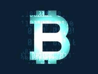 发光的比特币加密货币符号在黑暗的背景