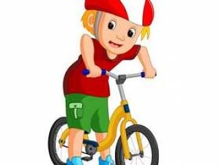 小男孩驾驶自行车