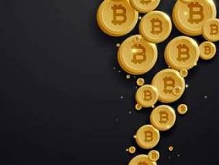 数字比特币货币金币在黑暗的背景