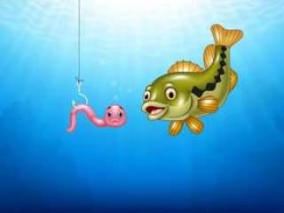 寻找一只桃红色蠕虫的动画片低音鱼