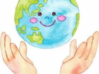 支持地球的手