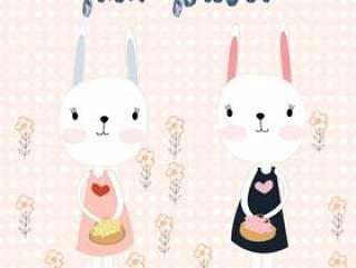 逗人喜爱的兔子兔宝宝朋友在庭院里