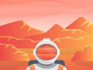 红色行星火星例证的太空人