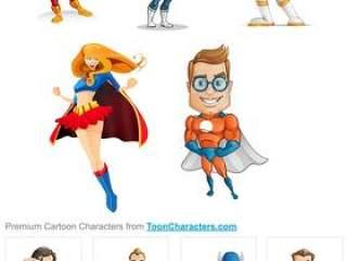 卡通超级英雄—PSD分层素材