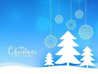与纸风格树的蓝色圣诞快乐圣诞风景背景