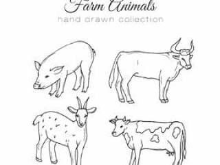 农业的插图。矢量农场元素。手绘农场动物。